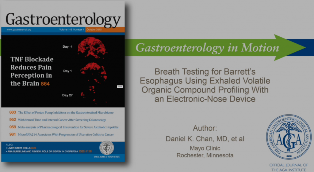Mayo Clinic Rochester published paper on breath analysis Barrett's with Aeonose